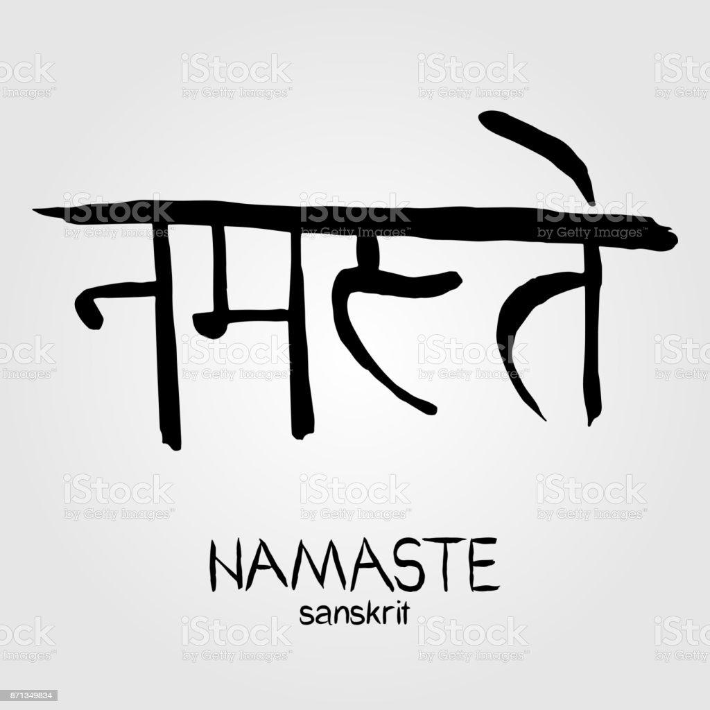 Sanskrit Calligraphy Font Namaste Translation Reverence To You