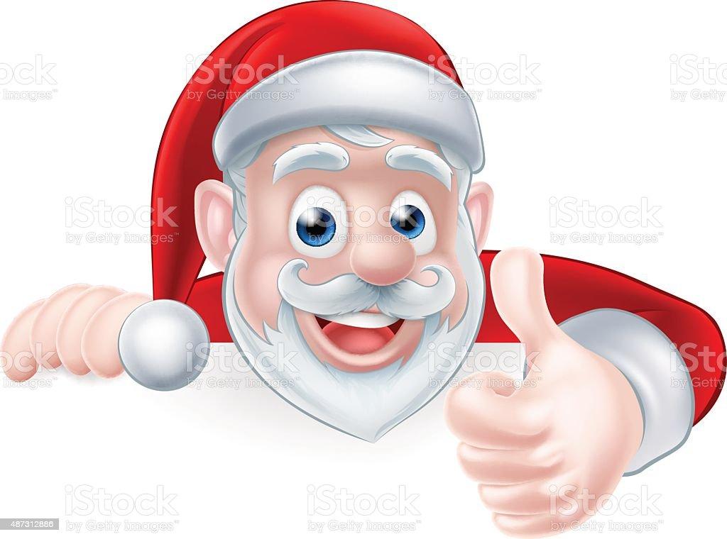 Santa Above Sign Thumbs Up vector art illustration