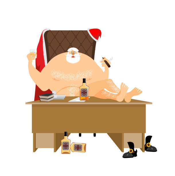 santa after work relaxes. claus rest. drink and cigar. bottle - old man smoking cigar stock illustrations, clip art, cartoons, & icons