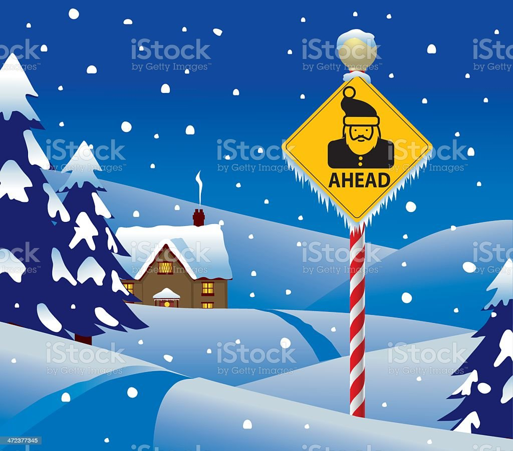 Santa Ahead vector art illustration