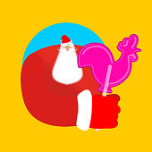 Santa and candy cock. Claus and lollypop cockerel. Sweetness of Christmas and new year. Xmas template.