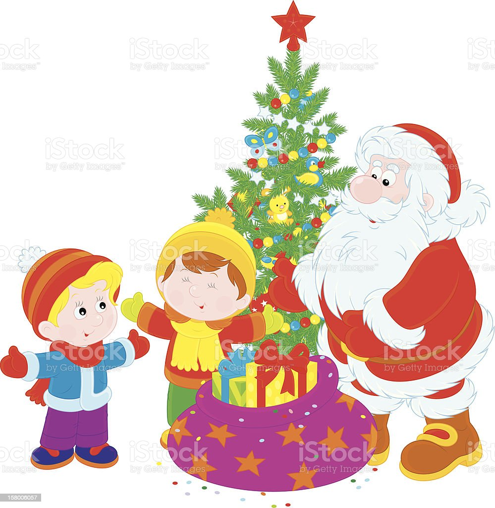 Santa and children royalty-free stock vector art