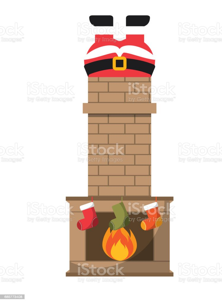 Santa and chimney icon. Merry Christmas design. Vector graphic royalty-free santa and chimney icon merry christmas design vector graphic stock vector art & more images of arts culture and entertainment