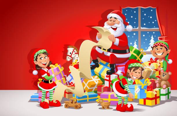 weihnachtsmann und weihnachtselfen vorbereitungen für weihnachten - wunschkinder stock-grafiken, -clipart, -cartoons und -symbole