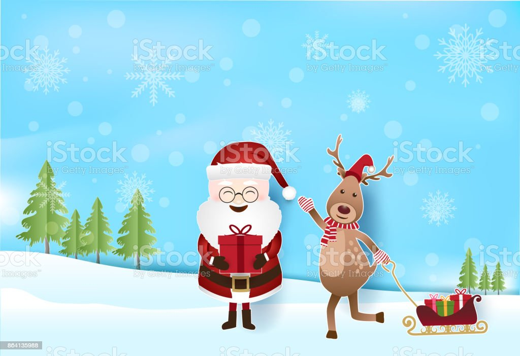 Santa and Deer with gift boxes pulling sleigh with snow and snowflake, Christmas holiday season background paper art style royalty-free santa and deer with gift boxes pulling sleigh with snow and snowflake christmas holiday season background paper art style stock vector art & more images of abstract