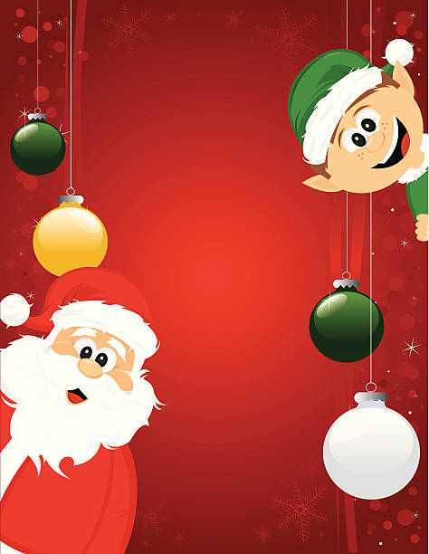 santa and elf excited for christmas background - old man smiling backgrounds stock illustrations, clip art, cartoons, & icons