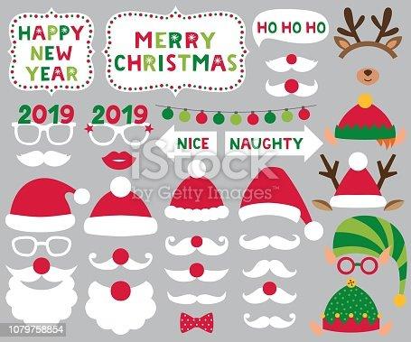 Santa and Elf hats, deer antlers, Christmas vector party set