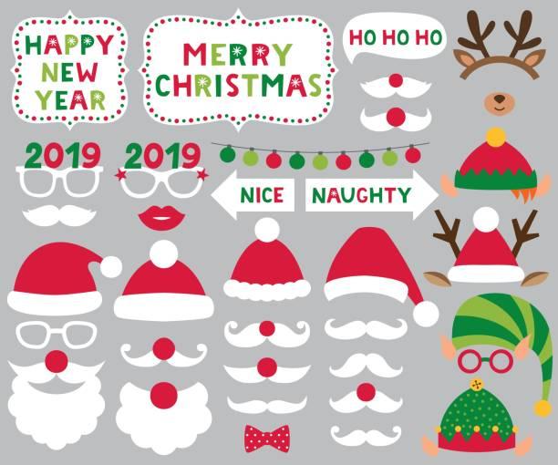 聖誕老人和精靈帽子, 鹿角, 聖誕向量党集合 - 個人飾物 幅插畫檔、美工圖案、卡通及圖標