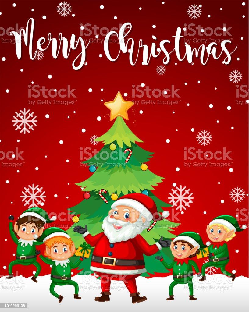 santa and elf merry christmas template stock vector art more