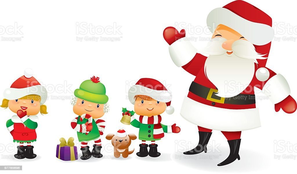 Santa and his little helpers royalty-free santa and his little helpers stock vector art & more images of adult