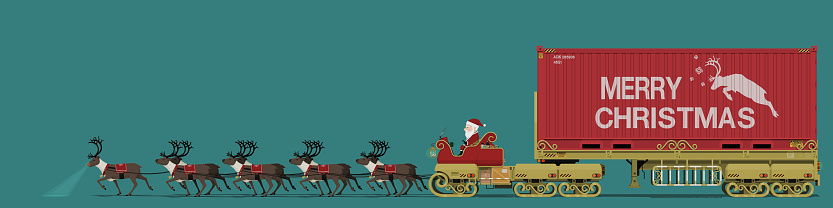 Santa and his reindeer are delivering the big Christmas gift.