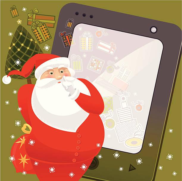 santa and his secret presents - secret santa messages stock illustrations