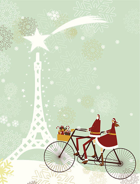Santa and lady in Paris for christmas vector art illustration