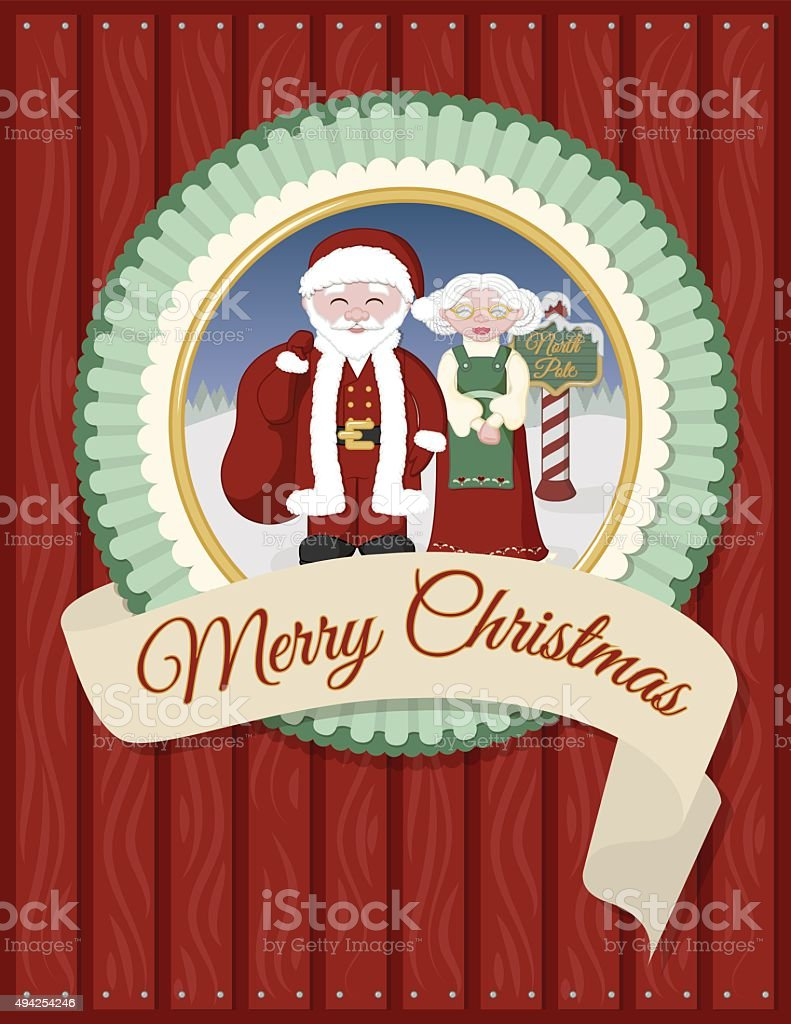Santa and Mrs Claus Greeting Card vector art illustration