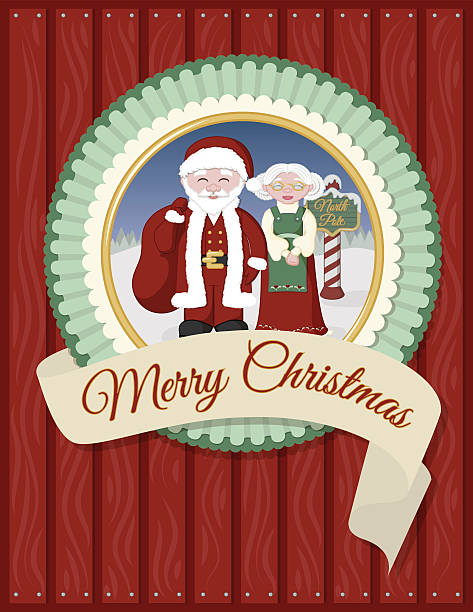 Santa and Mrs Claus Greeting Card vector art illustration