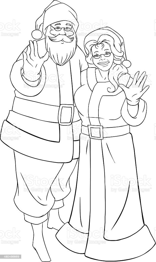 Santa And Mrs Claus Waving Hands For Christmas Coloring Page Stock ...