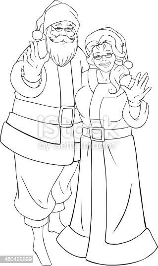 Ilustración de Santa Claus Y La Sra Agitando Las Manos De Navidad ...