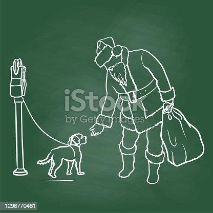 istock Santa And Puppy Dog Chalkboard 1296770481