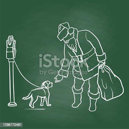 Santa And Puppy Dog Chalkboard