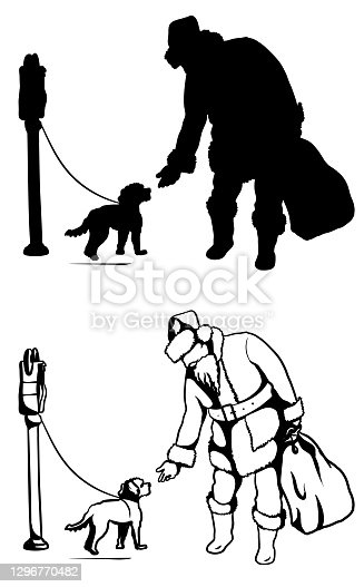 Santa And Puppy Dog Silhouette