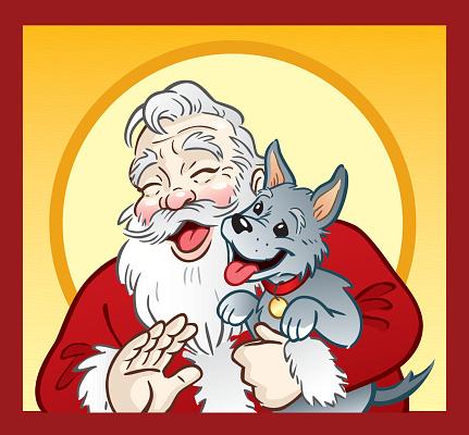 Santa And Puppy Stockvectorkunst en meer beelden van Alleen mannen