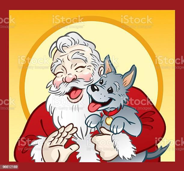 Santa And Puppy-vektorgrafik och fler bilder på Bära