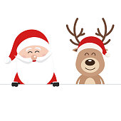 Santa and reindeer cute cartoon behind a blank sign white isolated background. Christmas card