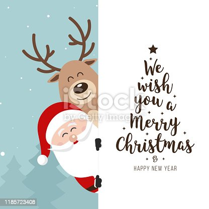 istock Santa and reindeer cute cartoon with greeting behind white banner winter landscape background. Christmas card 1185723408