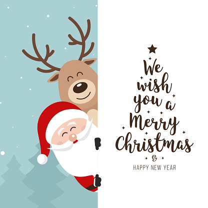 Santa and reindeer cute cartoon with greeting behind white banner winter landscape background. Christmas card