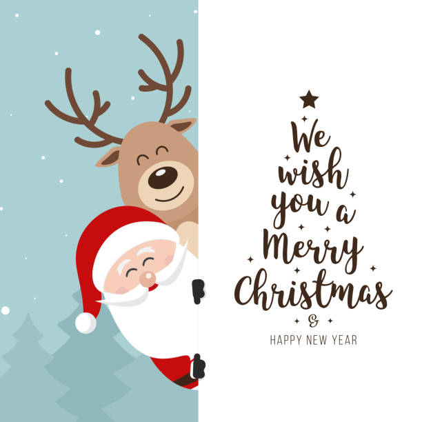 Santa and reindeer cute cartoon with greeting behind white banner winter landscape background. Christmas card Santa and reindeer cute cartoon with greeting behind white banner winter landscape background. Christmas card christmas fun stock illustrations