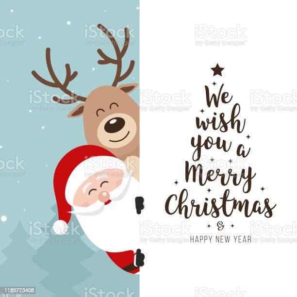 Santa Und Redeer Niedliche Cartoon Mit Gruß Hinter Weißen Banner Winter Landschaft Hintergrund Weihnachtskarte Stock Vektor Art und mehr Bilder von Bildhintergrund
