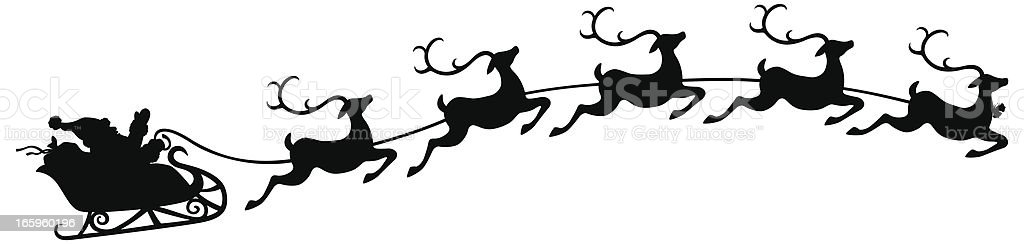 Santa and Sleigh with Flying Reindeer royalty-free stock vector art