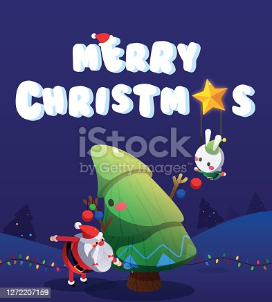 Santa and Snow Bunny Elf Decorating the Christmas Tree Vector Illustration