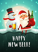 Santa and snowman beer poster for new year party. Christmas characters with beer mug and a sack with beer bottles in the moonlight. Vector greeting card with handwritten lettering
