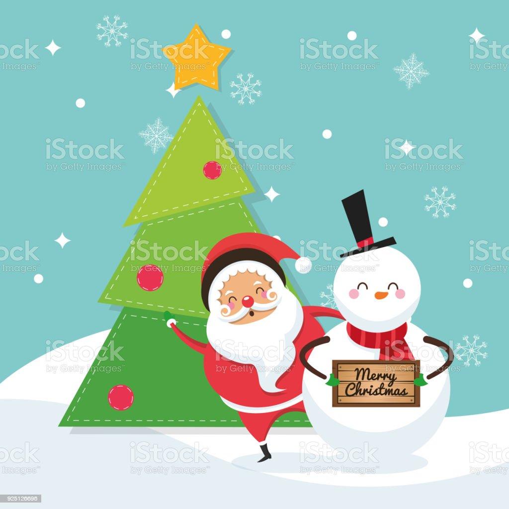 Santa and snowman cartoon of Christmas design vector art illustration