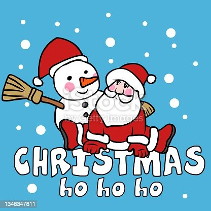 istock Santa and snowman Merry Christmas cartoon vector illustration 1348347811