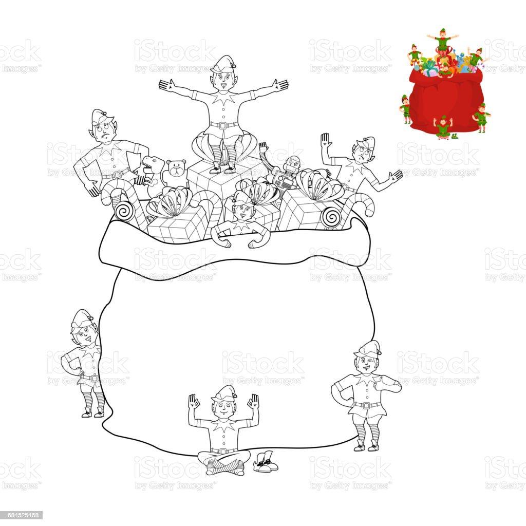 Ilustración De Santa Bolsa Y Elf Para Colorear Libro Navidad