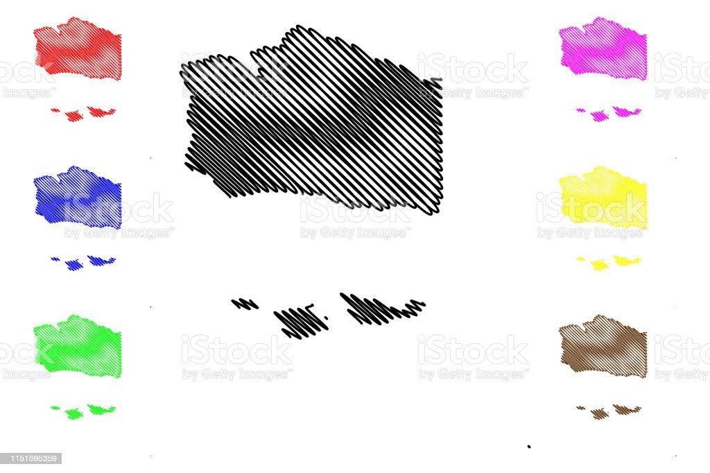 Santa Barbara California Map.Santa Barbara County California Map Vector Illustration Scribble