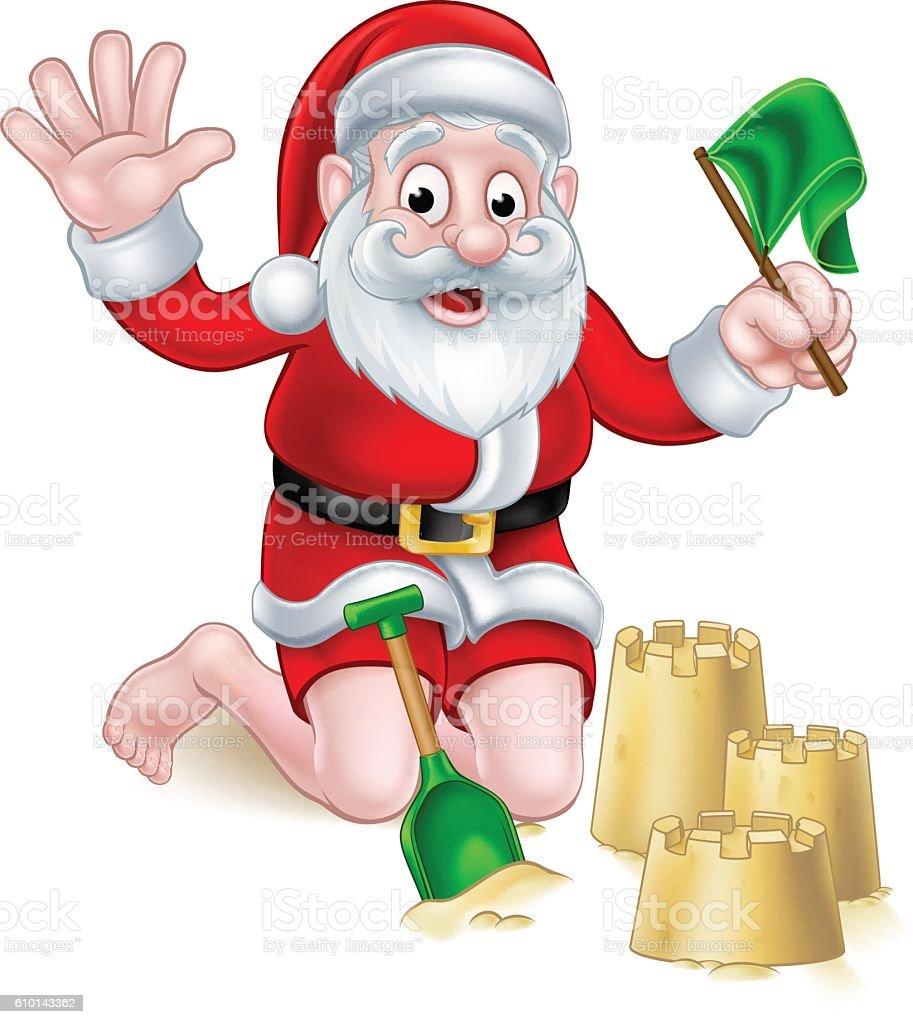 Santa Beach Christmas vector art illustration