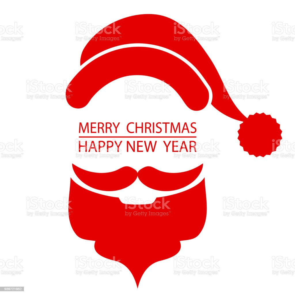 Santa Beard And Hat On Christmas Greetings Card Red White Isolated