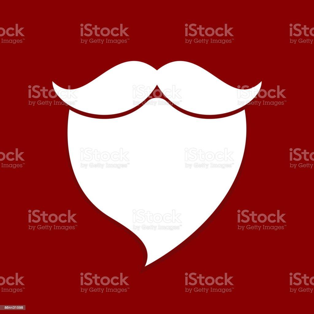 santa beard mustache white red background vector art illustration