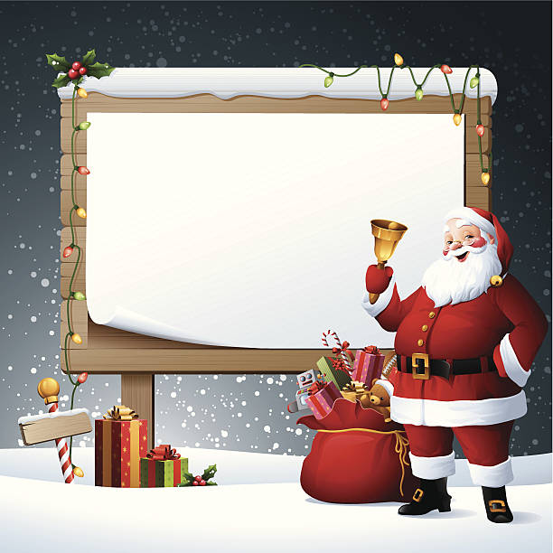 Santa - Billboard - santa with blank billboard one senior man only illustrations stock illustrations