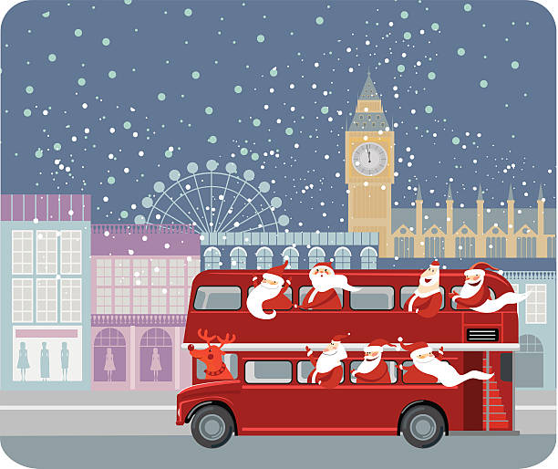 santa-bus - tour bus stock-grafiken, -clipart, -cartoons und -symbole
