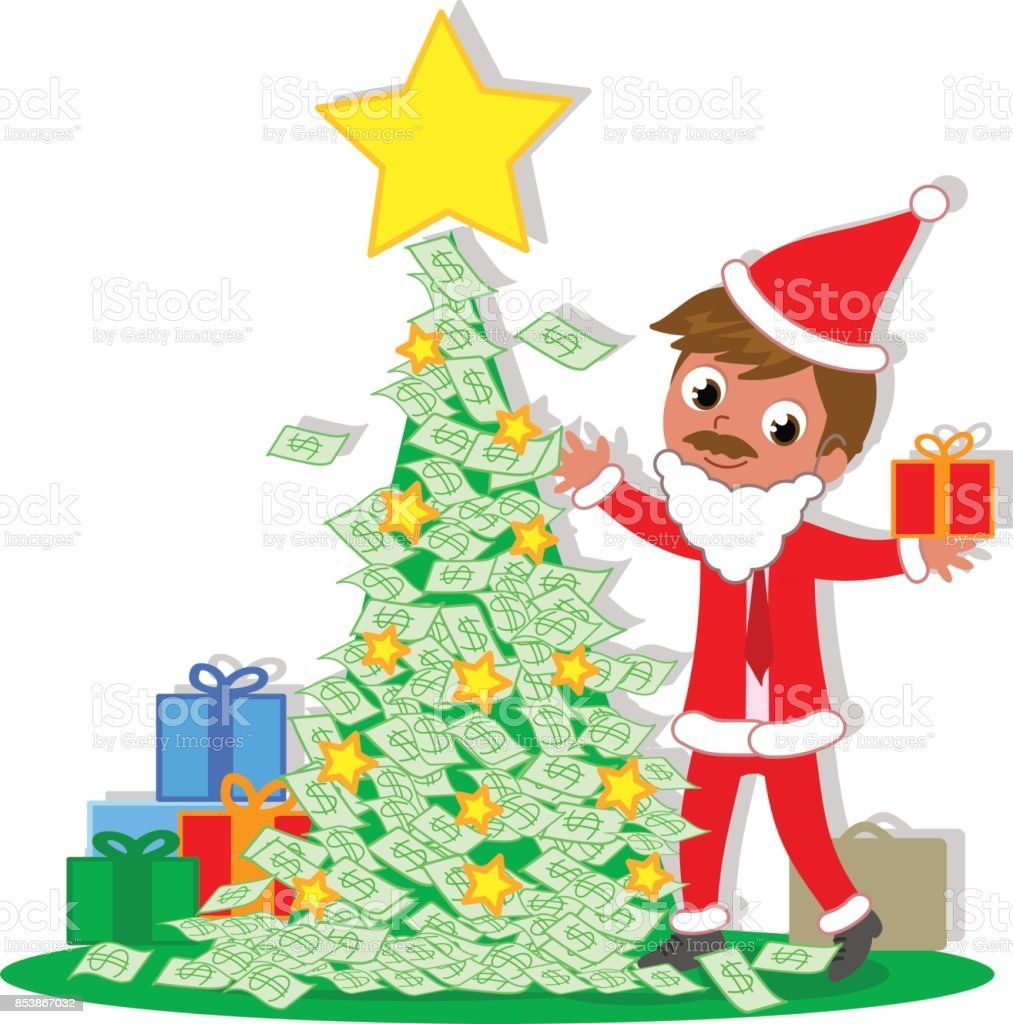 santa business man with money christmas tree royalty free stock vector art