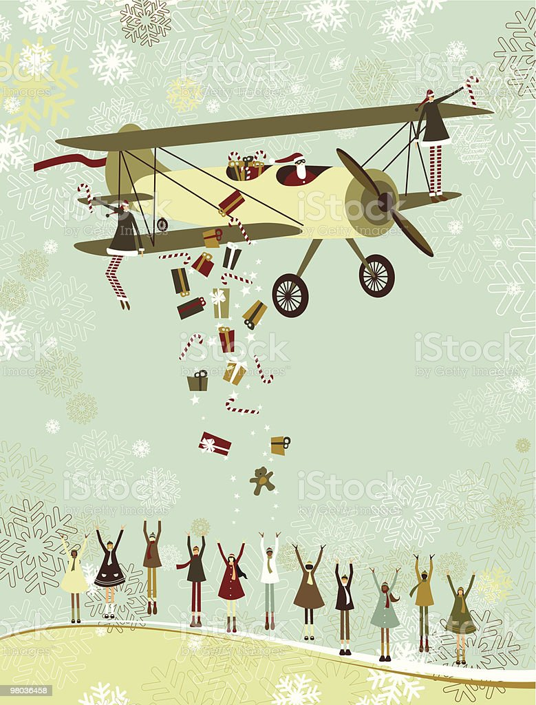 Santa by airplane royalty-free santa by airplane stock vector art & more images of airplane