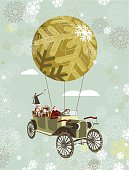 Christmas card with Santa traveling by hot air balloon in his old car. Note: grouped and layered file for easy edition.
