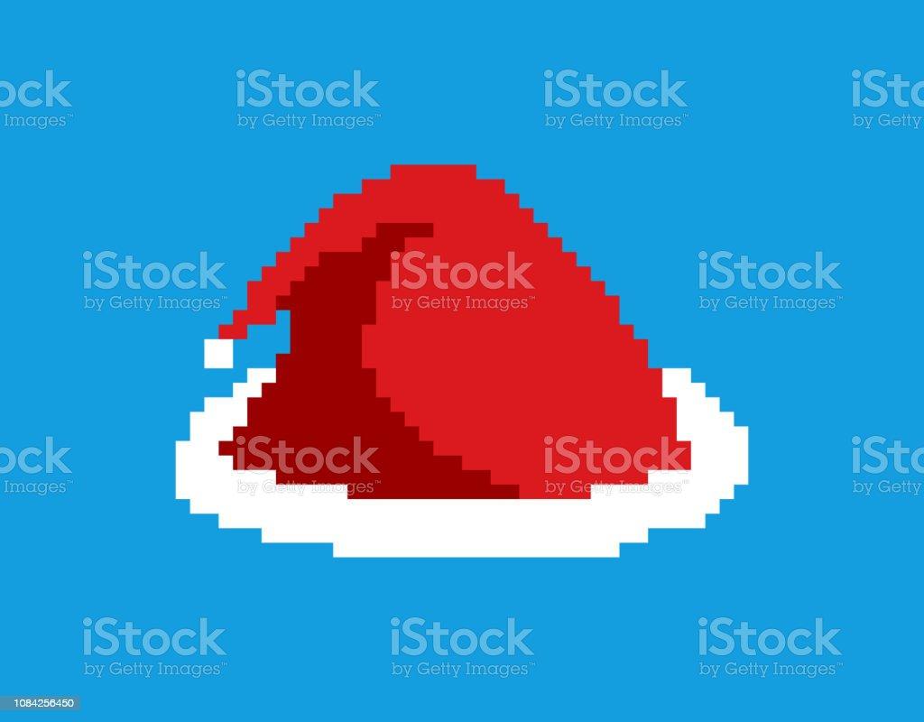 サンタ キャップ ピクセル アート。赤いクリスマス帽子 8 ビット。お祭りのアクセサリー ビデオ ゲーム古い学校。新年の服 ベクターアートイラスト