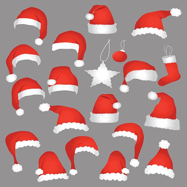 Santa caps and christmas decorations. Santa caps and christmas decorations. Vector icons set. headland stock illustrations