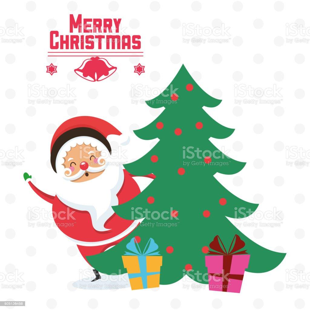 Santa cartoon and pine tree of Christmas design vector art illustration
