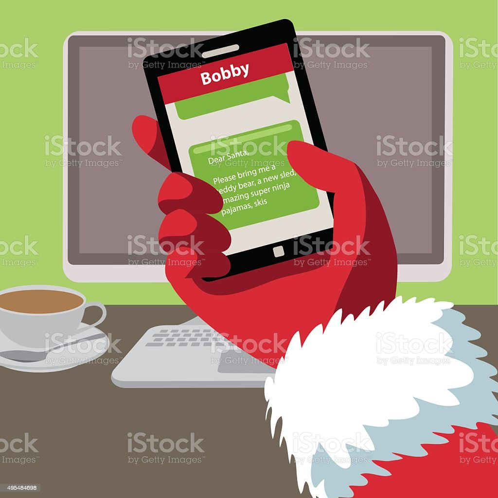 santa checks his text messages for letters from children royalty free santa checks his text